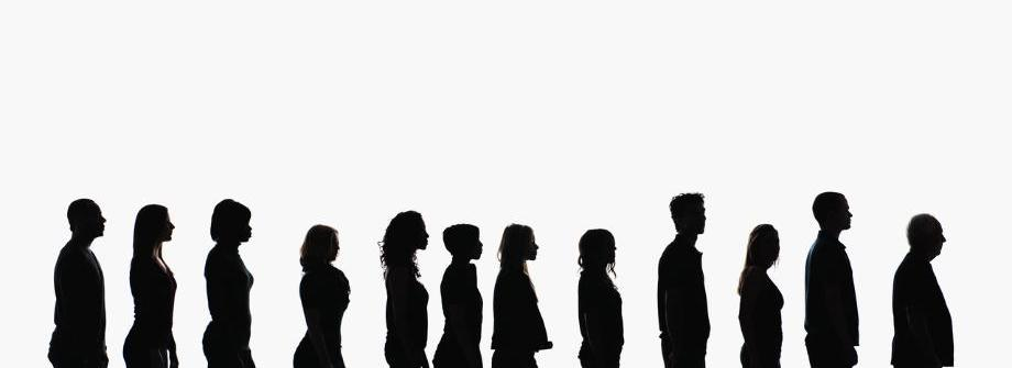 Silhouettes of people in a line